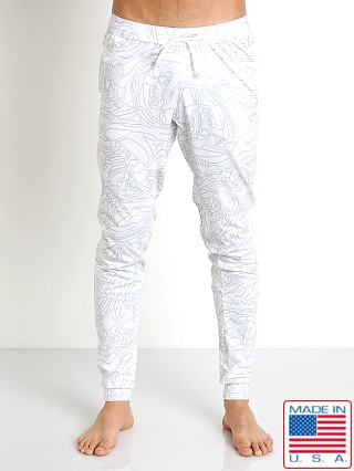LASC White Party Athletic Zip Pant White Picasso Print