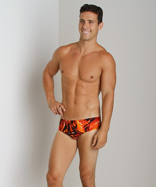 Speedo Xtra Life Lycra Fiber Vortex Swim Brief Deep Orange