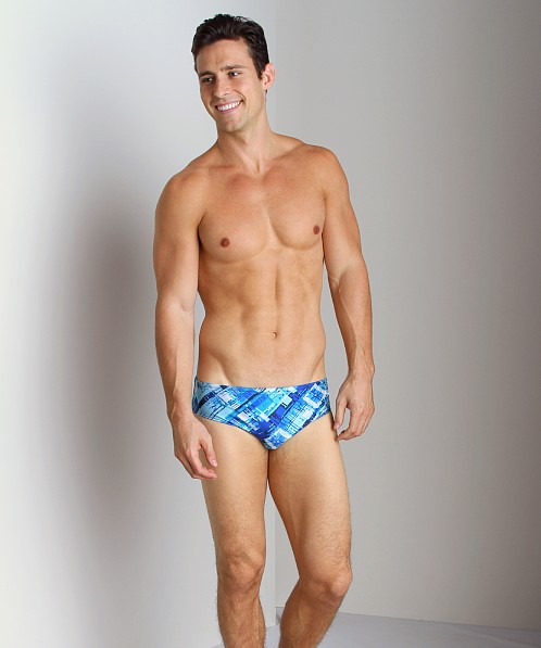 Speedo Poly Spandex X Plaid Swim Brief Blue