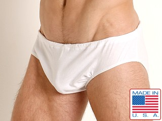Model in white Rick Majors UltraLite Stretch Cotton Drawcord Brief