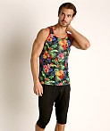 St33le Printed Stretch Mesh Tank Tropical Fruits, view 1
