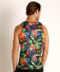 St33le Printed Stretch Mesh Tank Tropical Fruits, view 4