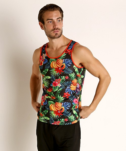 St33le Printed Stretch Mesh Tank Tropical Fruits