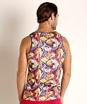 St33le Printed Stretch Jersey Tank Top Yellow Fish, view 4