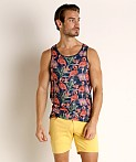 St33le Printed Stretch Jersey Tank Top Navy Flamingos, view 2