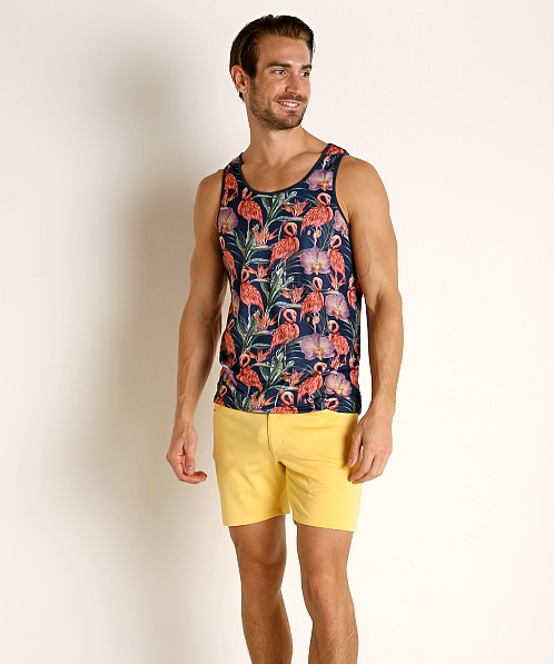 St33le Printed Stretch Jersey Tank Top Navy Flamingos