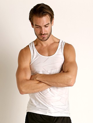 Model in white St33le Mesh Performance Tank Polygon Jacquard