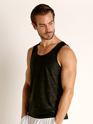 Model in black St33le Mesh Performance Tank Polygon Jacquard