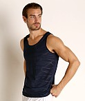 St33le Mesh Performance Tank Polygon Jacquard Navy, view 3