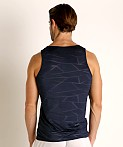 St33le Mesh Performance Tank Polygon Jacquard Navy, view 4