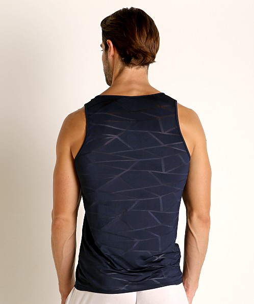 St33le Mesh Performance Tank Polygon Jacquard Navy
