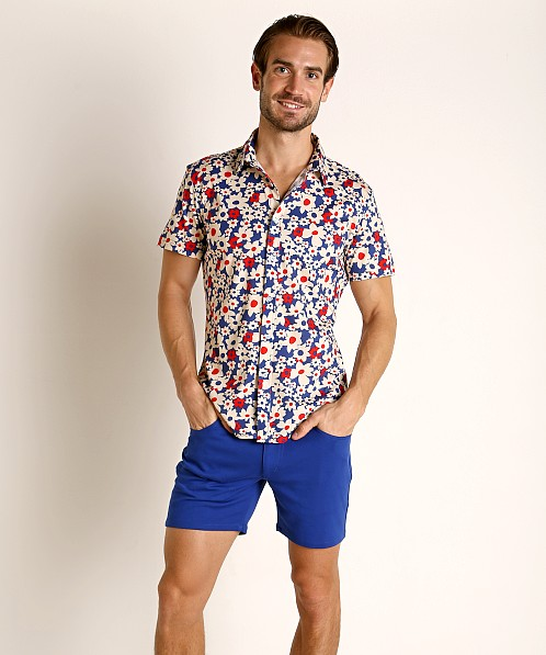 St33le Short Sleeve Shirt Royal Floral