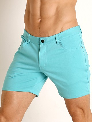 Complete the look: St33le Knit Jeans Shorts Aqua