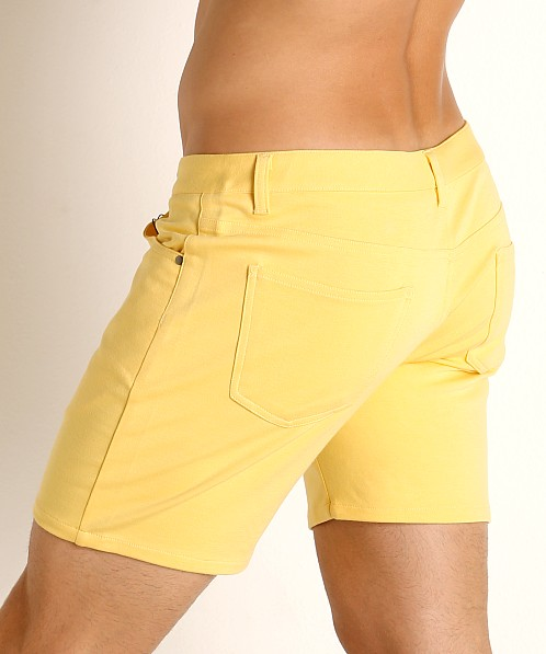 St33le Knit Jeans Shorts Custard Yellow