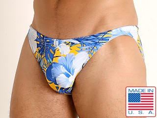 LASC Super Low Rise Swim Brief Blue Hibiscus