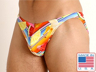 Model in fruit stripes LASC Super Low Rise Swim Brief