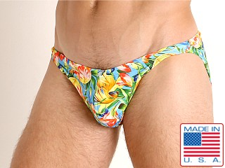 Model in summer blooms LASC Super Low Rise Swim Brief