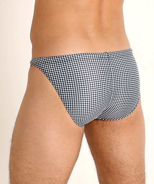 LASC Super Low Rise Swim Brief Black Gingham Checks