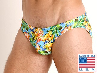 Model in summer blooms LASC St. Tropez Low Rise Swim Brief