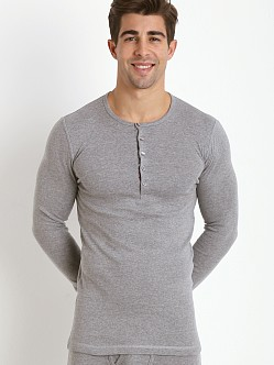 2xist Tartan Long Sleeve Henley Grey Heather