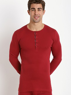 2xist Tartan Long Sleeve Henley Cranberry