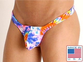Model in tie dye spirals Rick Majors Low Rise Swim Thong