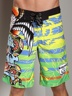 Ed Hardy Surreal Stripes Board Shorts Lime