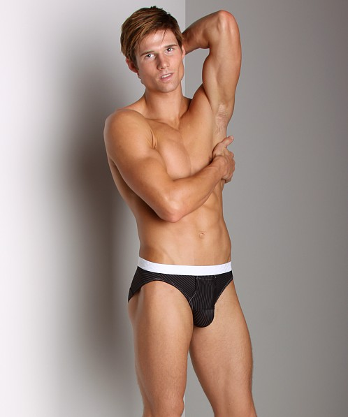 Balls in One Striped Erector Brief Black