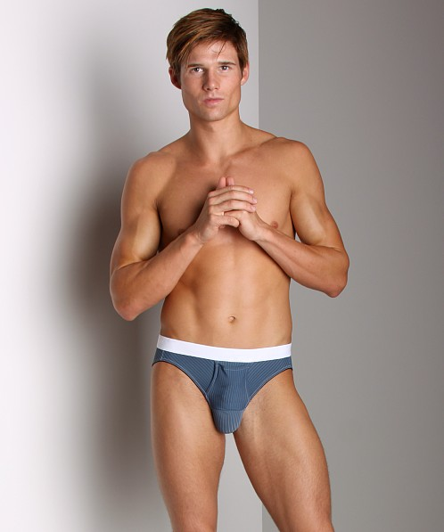 Balls in One Striped Erector Brief Blue