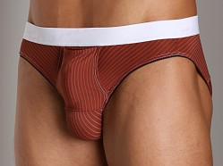 Balls in One Striped Erector Brief Red