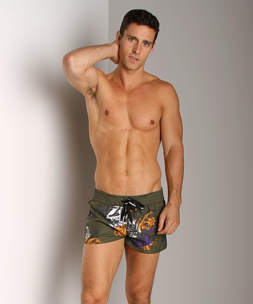 Diesel Coralrif Printed Swim Shorts Military Green