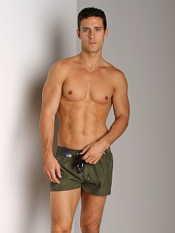 Diesel Coralrif Logo Swim Shorts Military Green