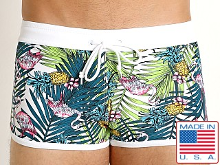 LASC American Square Cut Swim Trunks Pink Flamigo