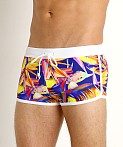 LASC American Square Cut Swim Trunks Magenta Fish, view 3