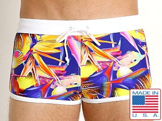 Model in magenta fish LASC American Square Cut Swim Trunks