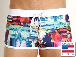 LASC American Square Cut Swim Trunks Abstract City