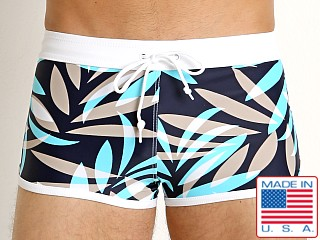 LASC American Square Cut Swim Trunks Tan Tropical