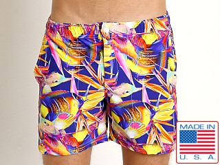 Model in magenta fish LASC Laguna Swim Shorts