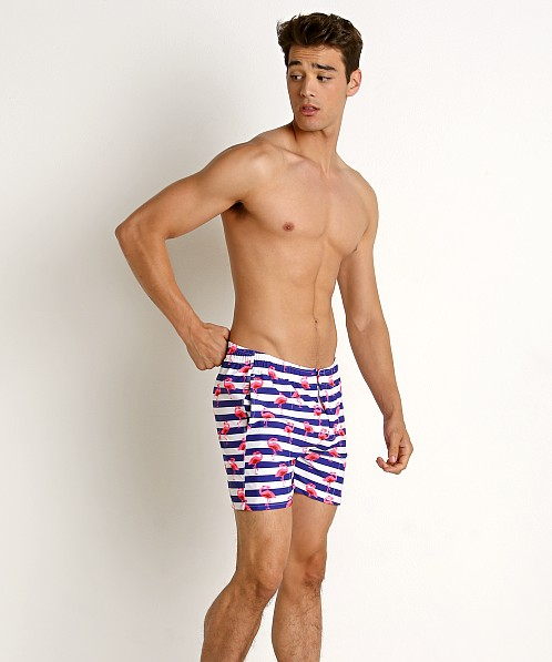 LASC Laguna Swim Shorts Striped Flamingo