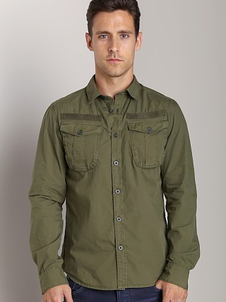 Model in rovic green G-Star Ernest Long Sleeve Shirt