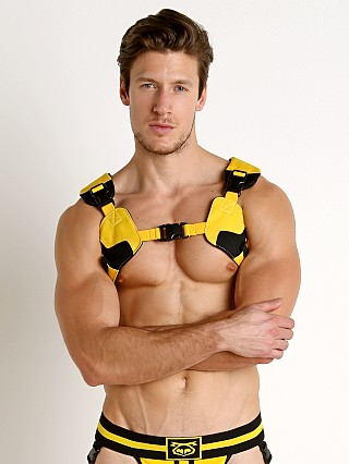 Model in yellow Nasty Pig Troop Harness