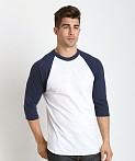 Soffe Classic Baseball Jersey White/Navy, view 3