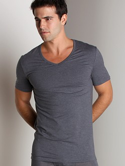 Hanro Cotton Sensation V-Neck Shirt Anthracite