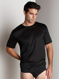 Hanro Cotton Sporty Short Sleeve Shirt Black