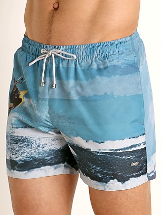 Model in surfer print Hugo Boss Springfish Swim Shorts