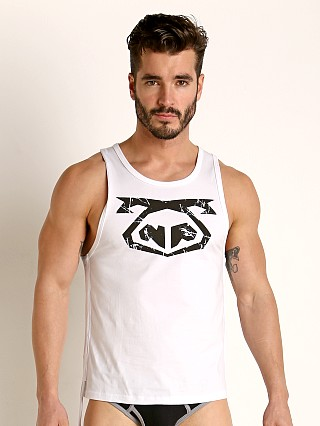 Model in white Nasty Pig Ripcord Tank Top