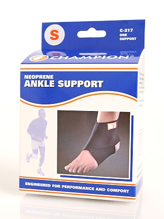 Model in  PCP Champion Neoprene Ankle Support