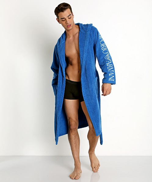 38c5b18127 Emporio Armani 100% Cotton Bathrobe Sky 110799-8P591-20833 at International  Jock