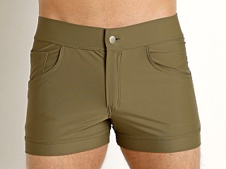 Model in khaki Modus Vivendi Classic Swim Short