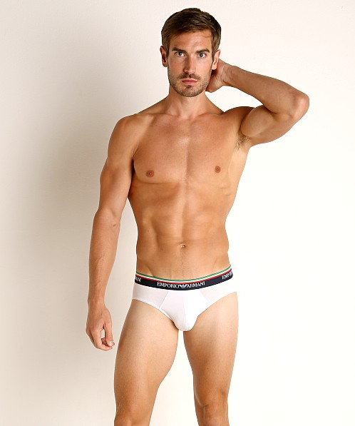 Emporio Armani Italian Flag Brief White